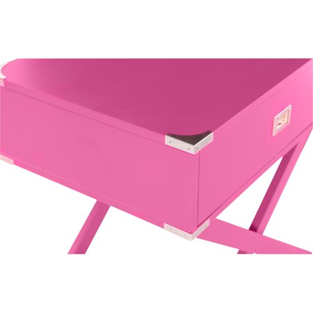 Linon Peggy X Base Wood Accent Table in Pink - image 8 de 11