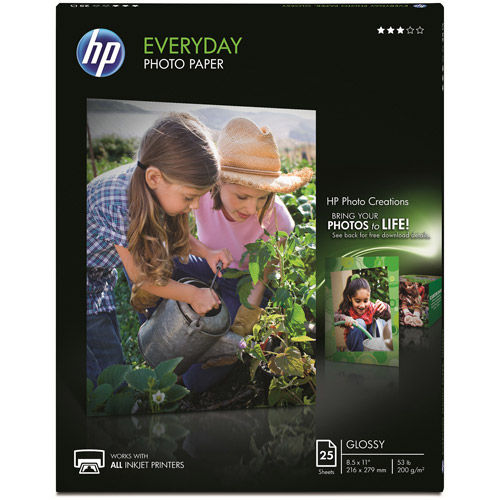 HP Everyday Photo Paper, Semi-Gloss, 25 sheets, 8.5 x 11-inch (Q5498A)