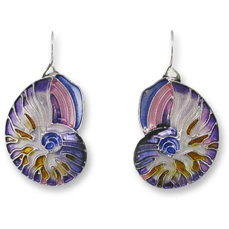 Silver Plated Shell - Zarah 21-21-Z1 Nautilus Shell Silver Plate Earrings