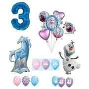 Frozen 2 3rd Birthday Anna ELSA Olaf Nokk The Water Spirit Horse Snowman Snowflake 17 Piece Party Balloons Set