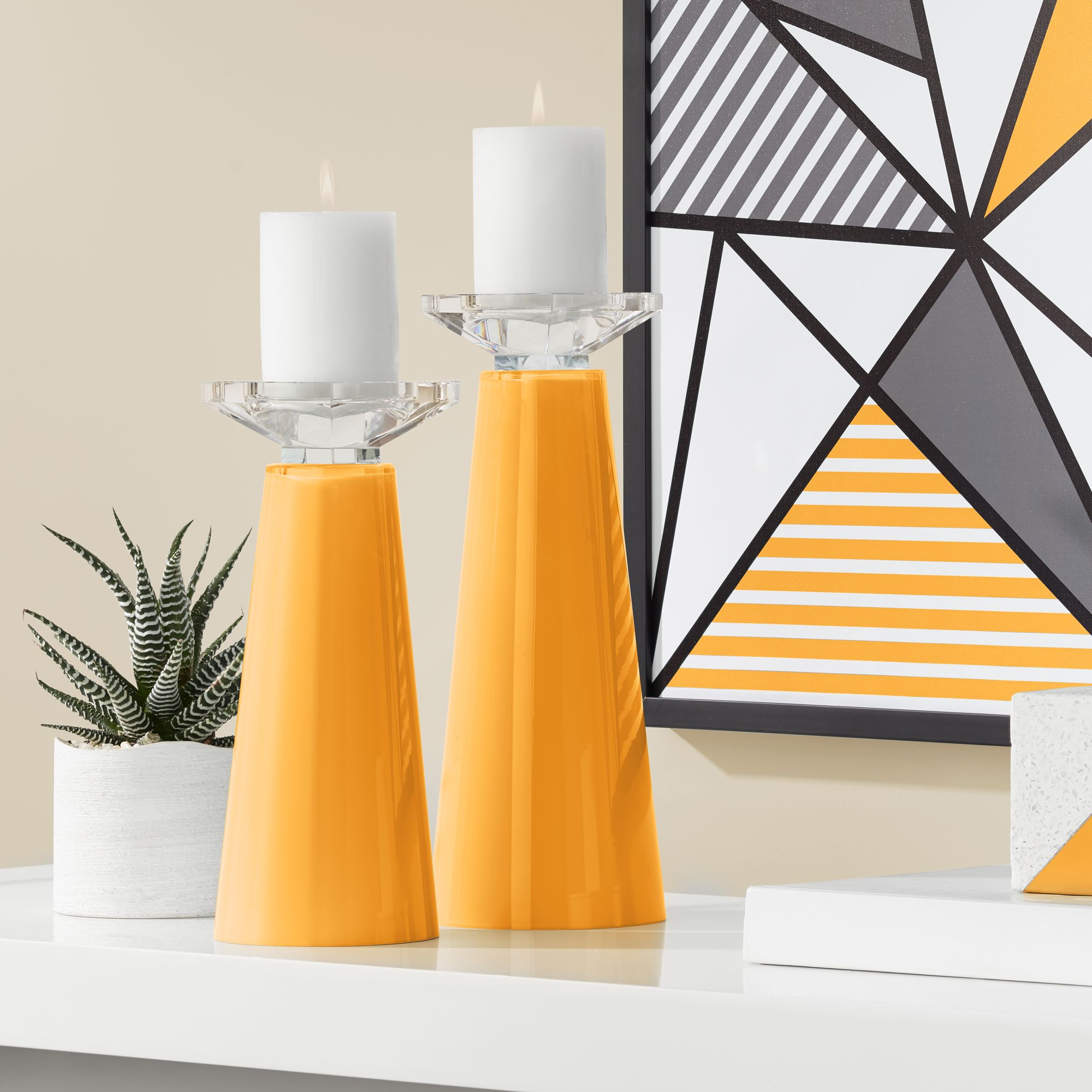 Plus Meghan Naval Glass Pillar Candle Holders Set of 2 Color