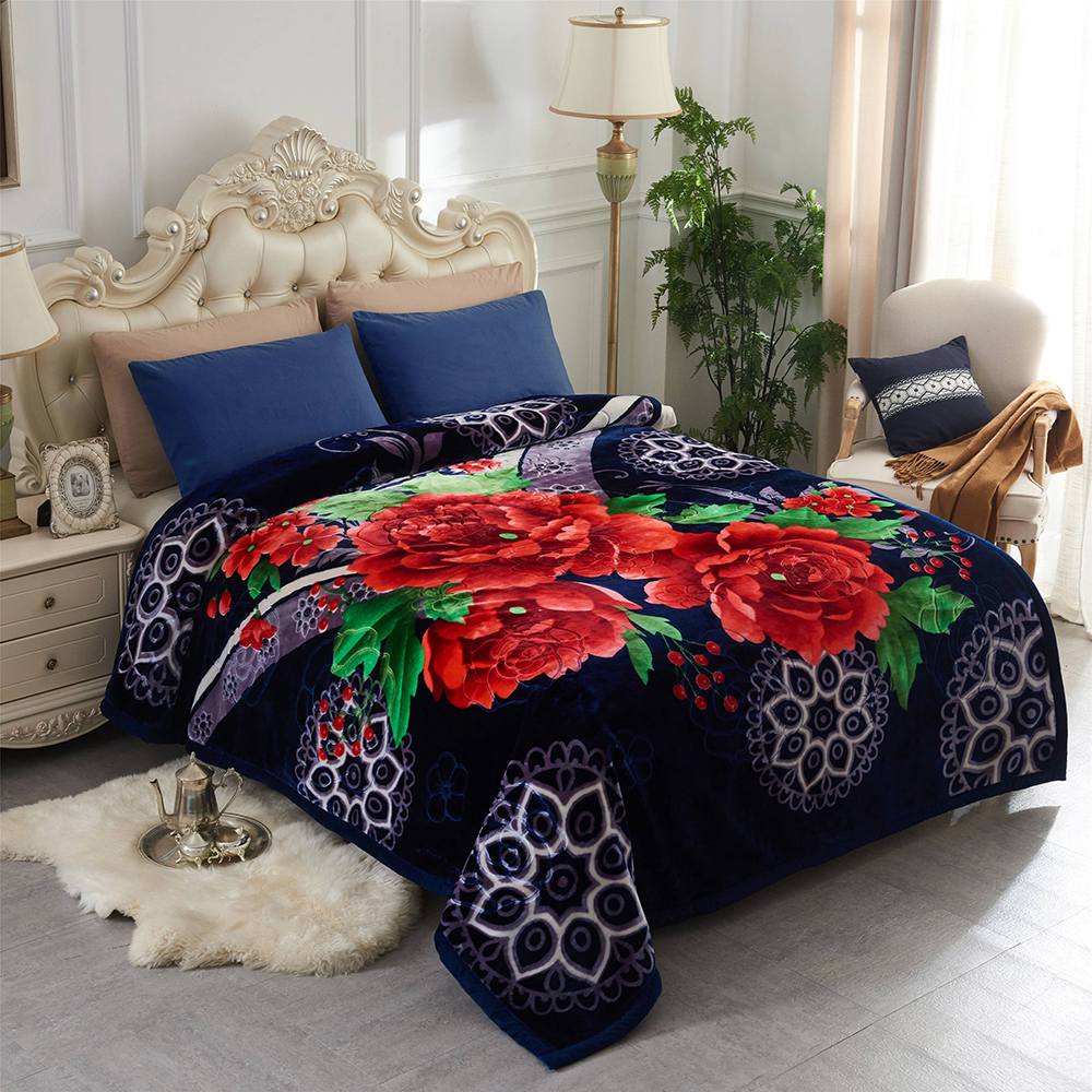 JML Super Soft Korean Style Mink Plush Fleece Bed Raschel Blanket Queen Blue