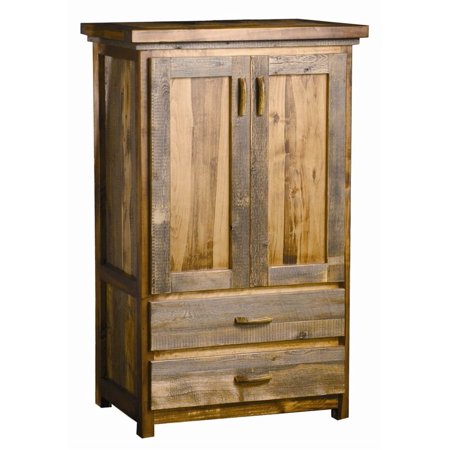 2 Drawer Rustic Wood Armoire w Wardrobe Bar (Contoured Aspen)