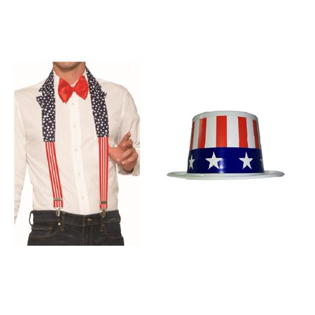 Uncle Sam Patriotic Kit Collar Suspenders USA Mini Top Hat 4th Of July Costume](4th Of July Hats)
