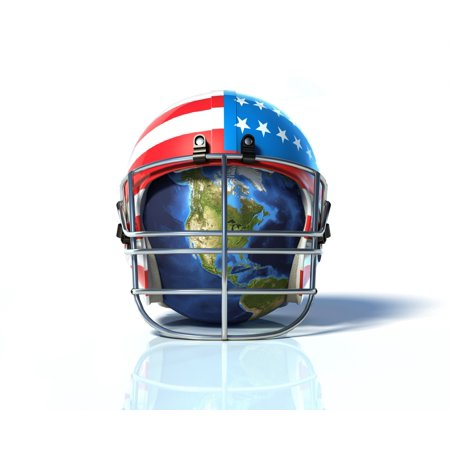 Planet Earth protected by an American football helmet painted with stars and stripes Poster - Earthy Stripes
