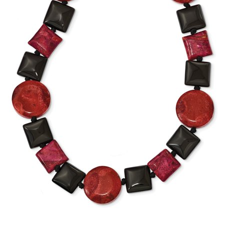 "Solid 925 Sterling Silver Black Simulated Agate & Reconstituted Red Coral Necklace Chain 16"" - with Secure Lobster Lock Clasp (12mm)"