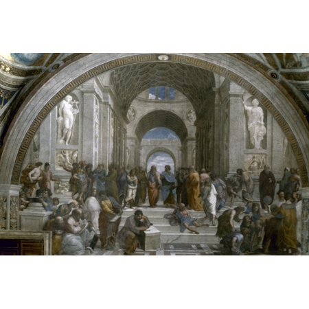 Stretched Canvas Art - Raphael: School Of Athens. /Nfresco 1509-10. - Large 24 x 36 inch Wall Art Decor Size.