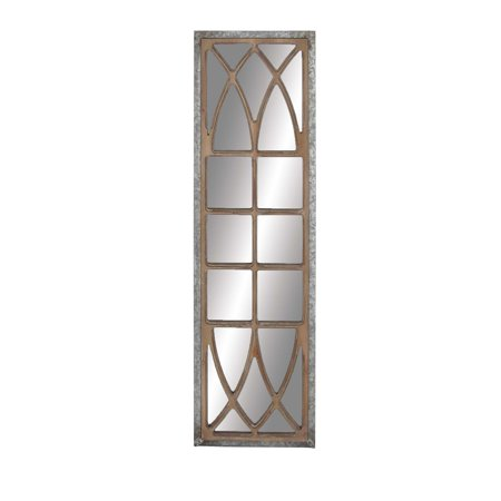 Decmode Rustic Wood Window-Inspired Framed Wall Mirror Decor, Silver ()