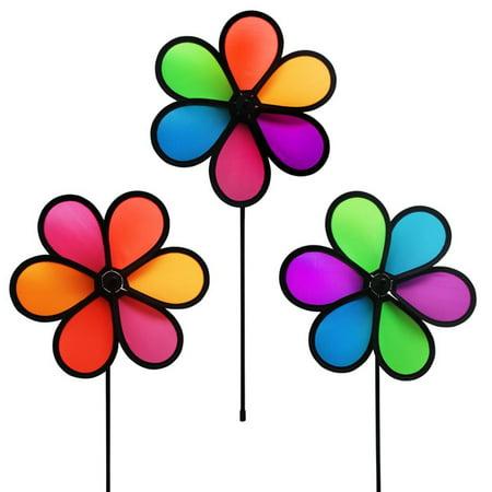 In the Breeze 10-Inch Neon Flower Spinners - Colorful Wind Spinners for your Yard and Garden - Pack of 3