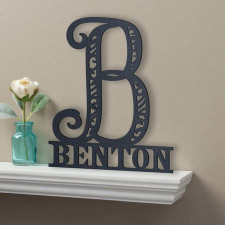 Personalized Black Wood Plaque - Family Name