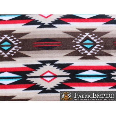 Fleece Fabric Printed ANTI PILL TRIBAL AZTEC IKAT DIAMOND BROWN TURQUOISE RED BLUE