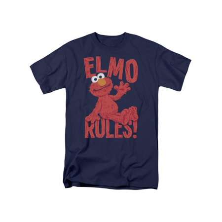 Sesame Street Classic Children's TV Show Elmo Rules Adult T-Shirt Tee - Elmo T Shirt