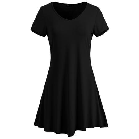 Dress Handkerchief Hem (ililily Women V Neck Short Sleeve Solid Handkerchief Hem Tunic Flare Dress , Black,)