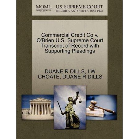 Commercial Credit Co V  Obrien U S  Supreme Court Transcript Of Record With Supporting Pleadings