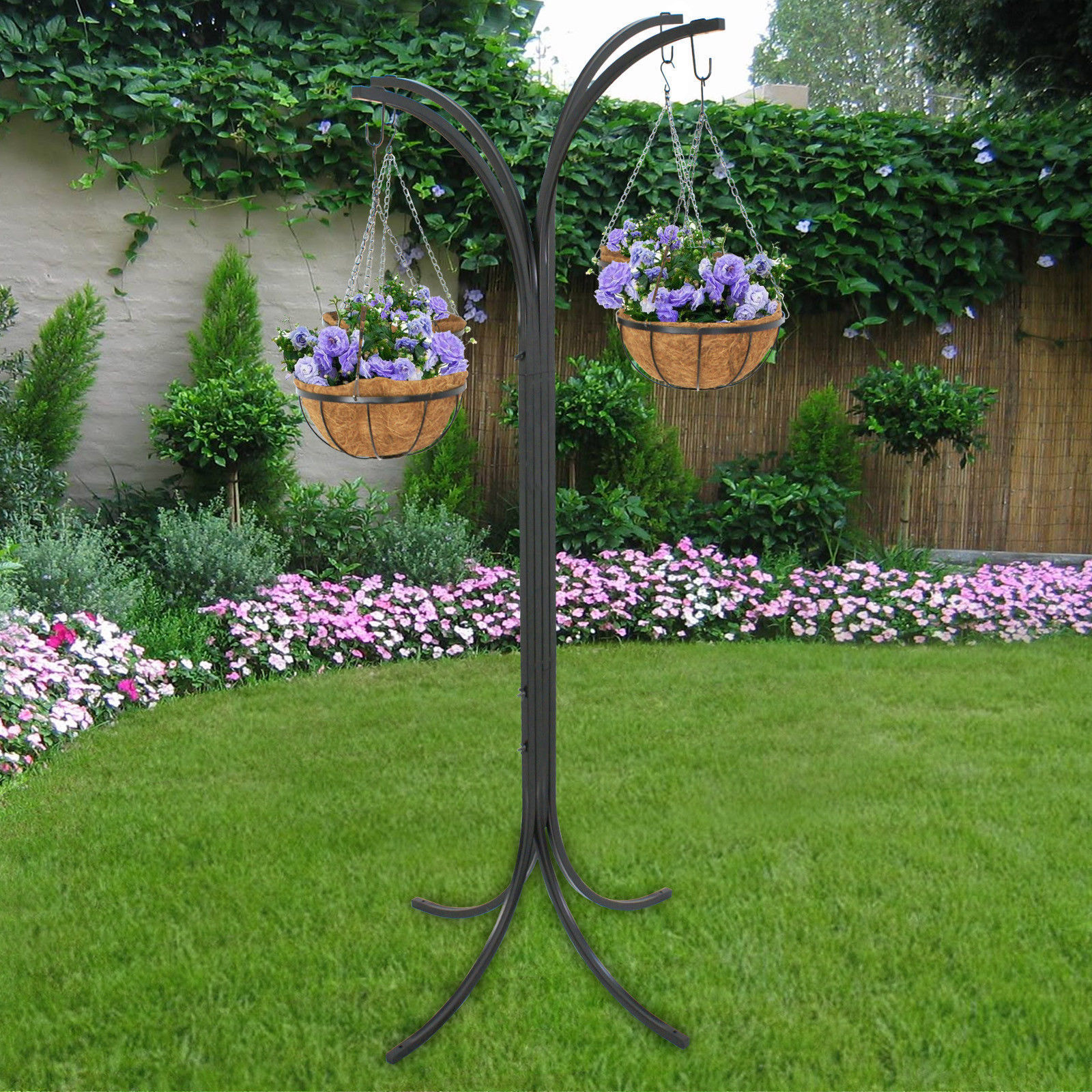 Zeny Outdoor 4 Arm Tree With 4 Hanging Baskets Patio Stand Garden Plant,  Space