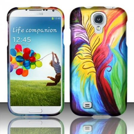 Snap-On Protective Hard Rubberized Case Cover Design for AT&T,T-Mobile,Sprint,Verizon Samsung Galaxy S4 IV S IV i9500 (Peacock Feathers), RUBBERIZED CASE By Zizo,USA