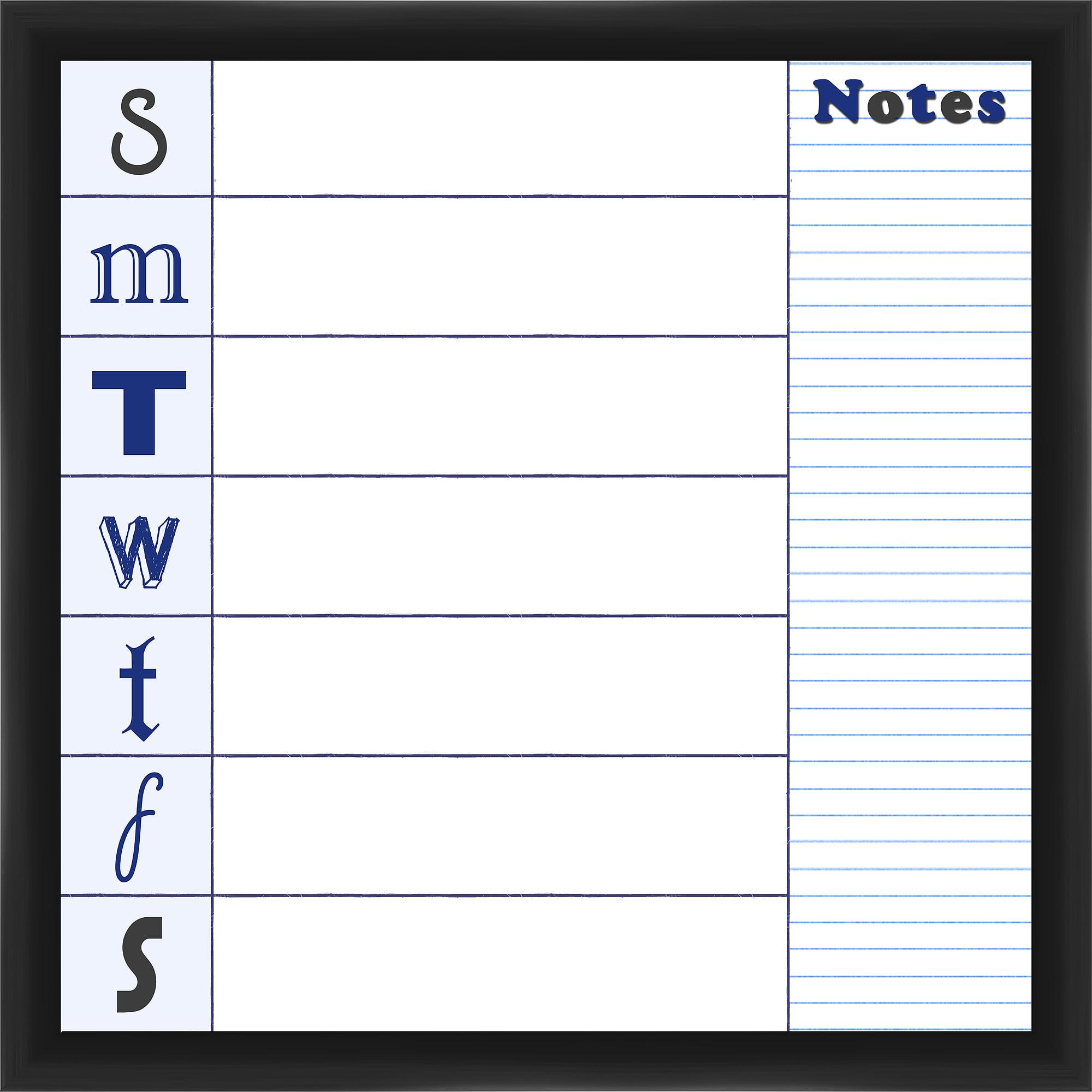 Week Notes Black Memoboard