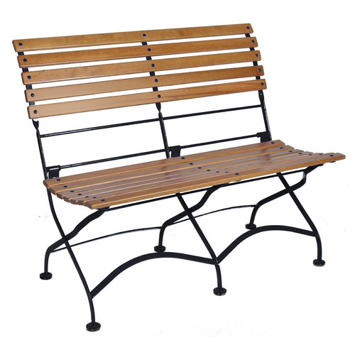 Furniture Designhouse African Teak Folding 2-Seat Bench without Arms