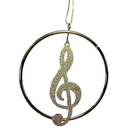 Gold Metal Glitter Treble Clef Music Note Musician Christmas Tree Ornament By On Holiday Ship from (Glitter Music Note)