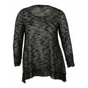 Alfani Women's Sheer Hem Sweater Top (0X, Black/White)