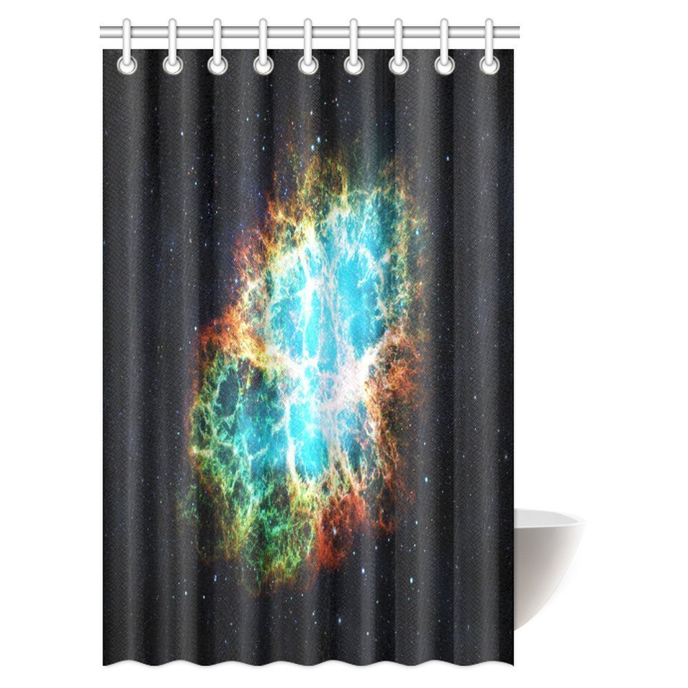 GCKG Space Decor Shower Curtain Set, Crab Nebula in Early Age Clean Version of Original Print Fabric Bathroom Shower Curtain, 48x72 Inches - image 2 of 2