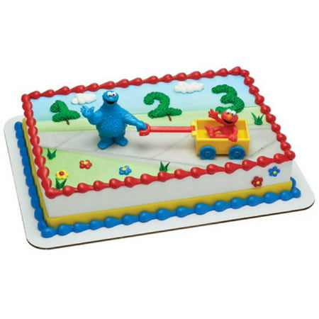 Sesame Street Cookie Monster and Elmo Cake Topper - Elmo Cake Decorations