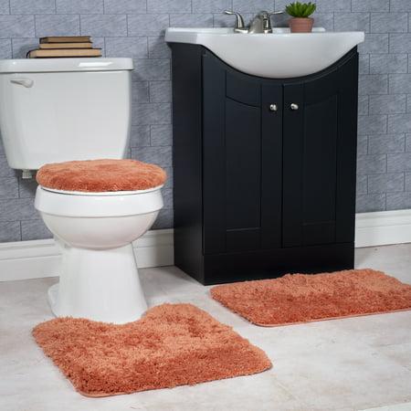 Somerset Home 3 Piece Super Plush Non Slip Bath Mat Rug Set Rust