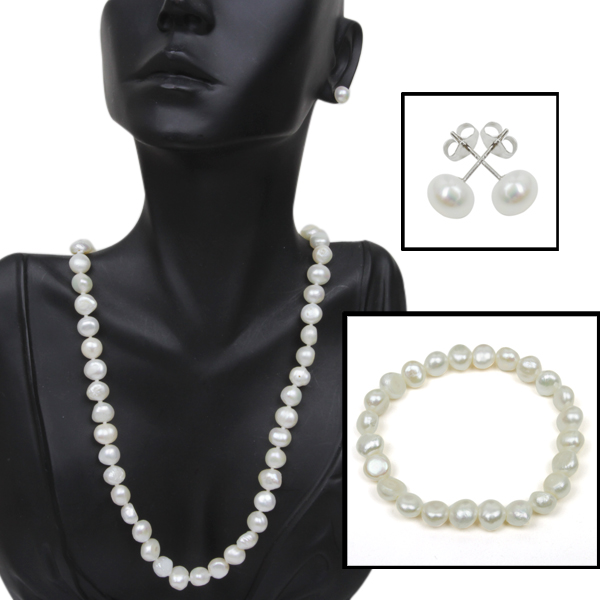 925 Silver Genuine Cultured Freshwater Pearl Necklace Bracelet & Earring Set