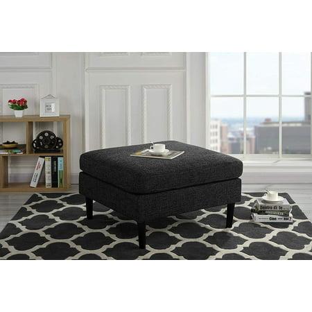 Modern Living Room Accent Linen Fabric Ottoman (Ash Grey)
