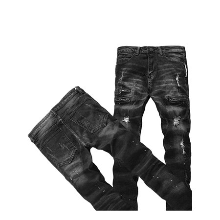 ed8d16beebc Mens Ripped Biker Jeans 100% Cotton Black Slim Fit Motorcycle Jeans Men  Vintage Distressed Denim Jeans Pants - Walmart.com
