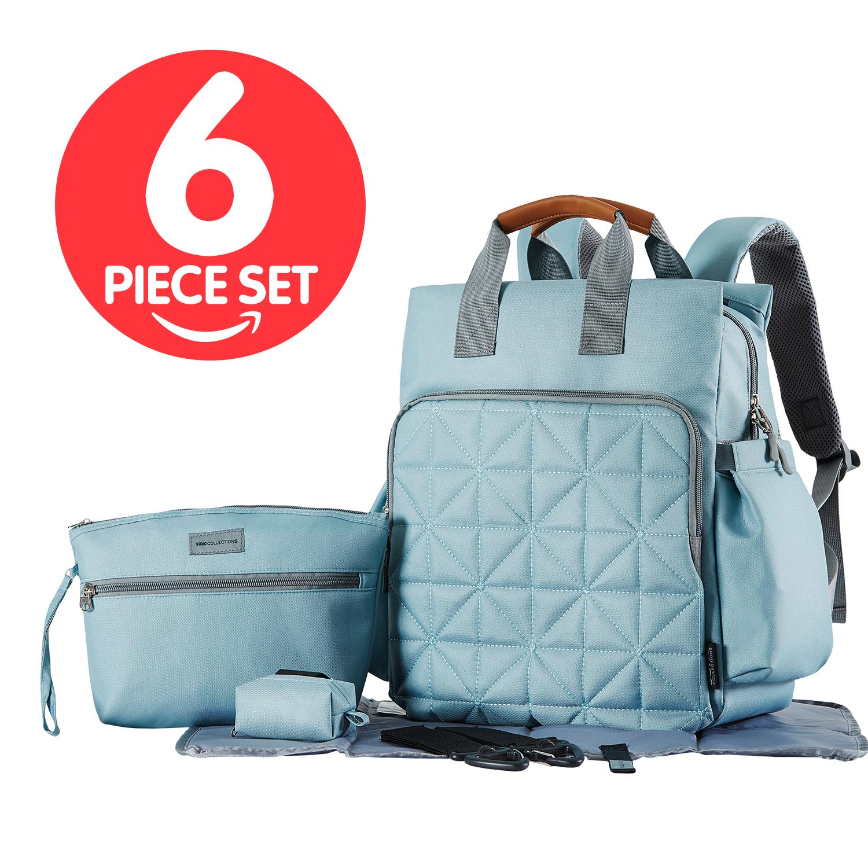 SoHo Collections, Unisex Designer Diaper Bag Backpack, 6 Piece Set with Stroller Straps, Kenneth (Aqua Sage)