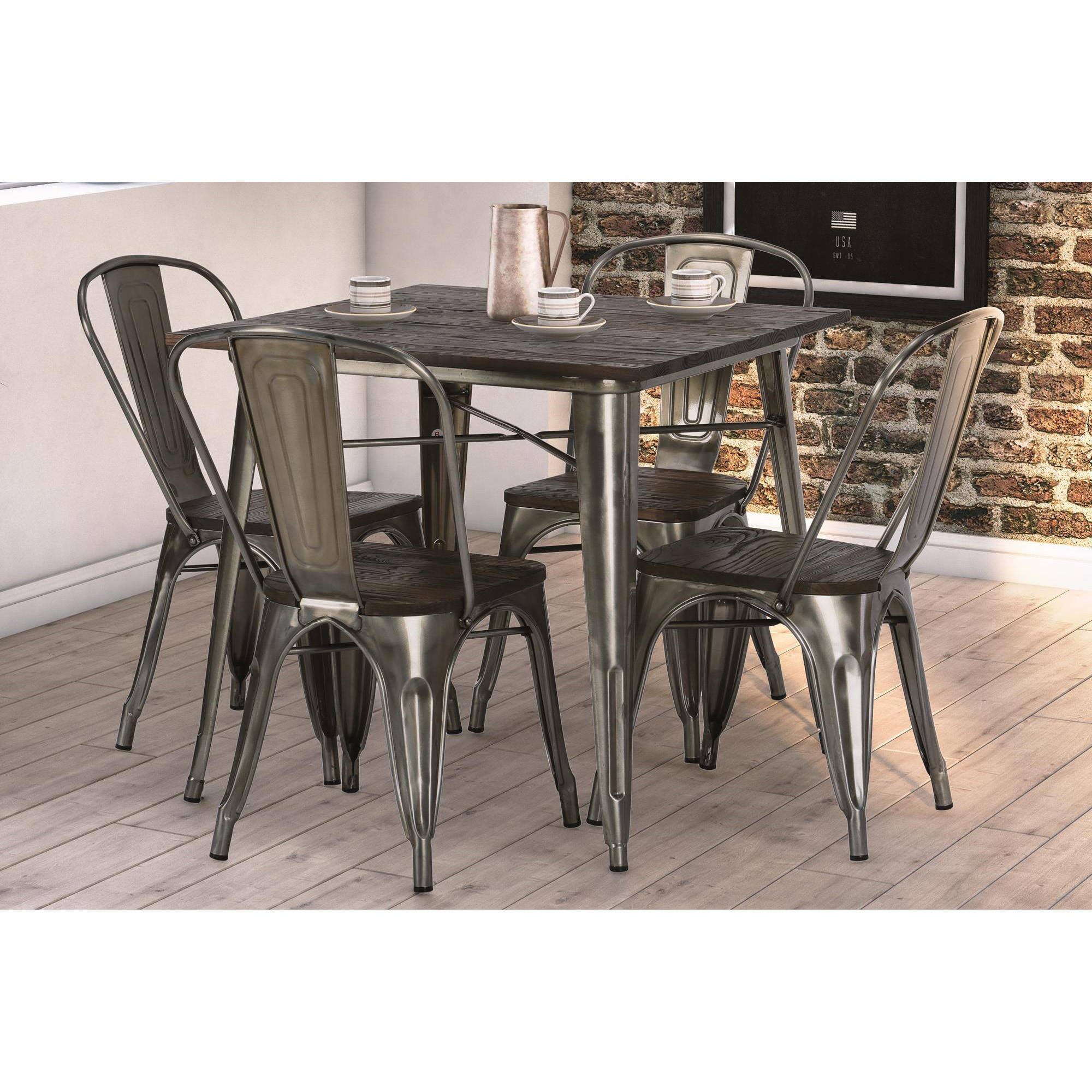 DHP Fusion Dining Table, Square, Antique Gun Metal/Wood   Walmart.com