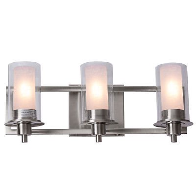 Gymax 3-Light LED Vanity Fixture Brushed Nickel Wall Sconces Lighting Bathroom Brushed Nickel Vanity Lights