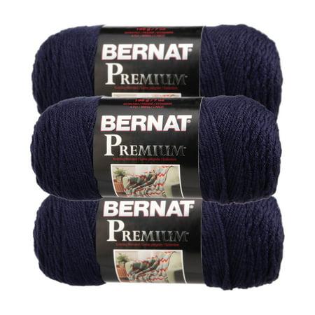 Bernat (3 Pack) Premium 100% Acrylic Soft Navy Blue Yarn for Knitting Crocheting Medium Worsted #4