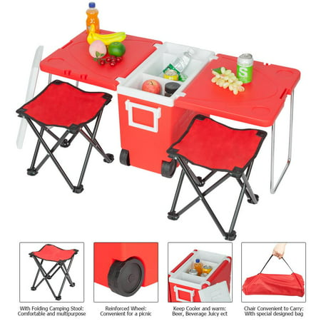 Ktaxon Multi Function Portable Rolling Cooler for Picnic Camping w/ Table & 2 Chairs Blue ()