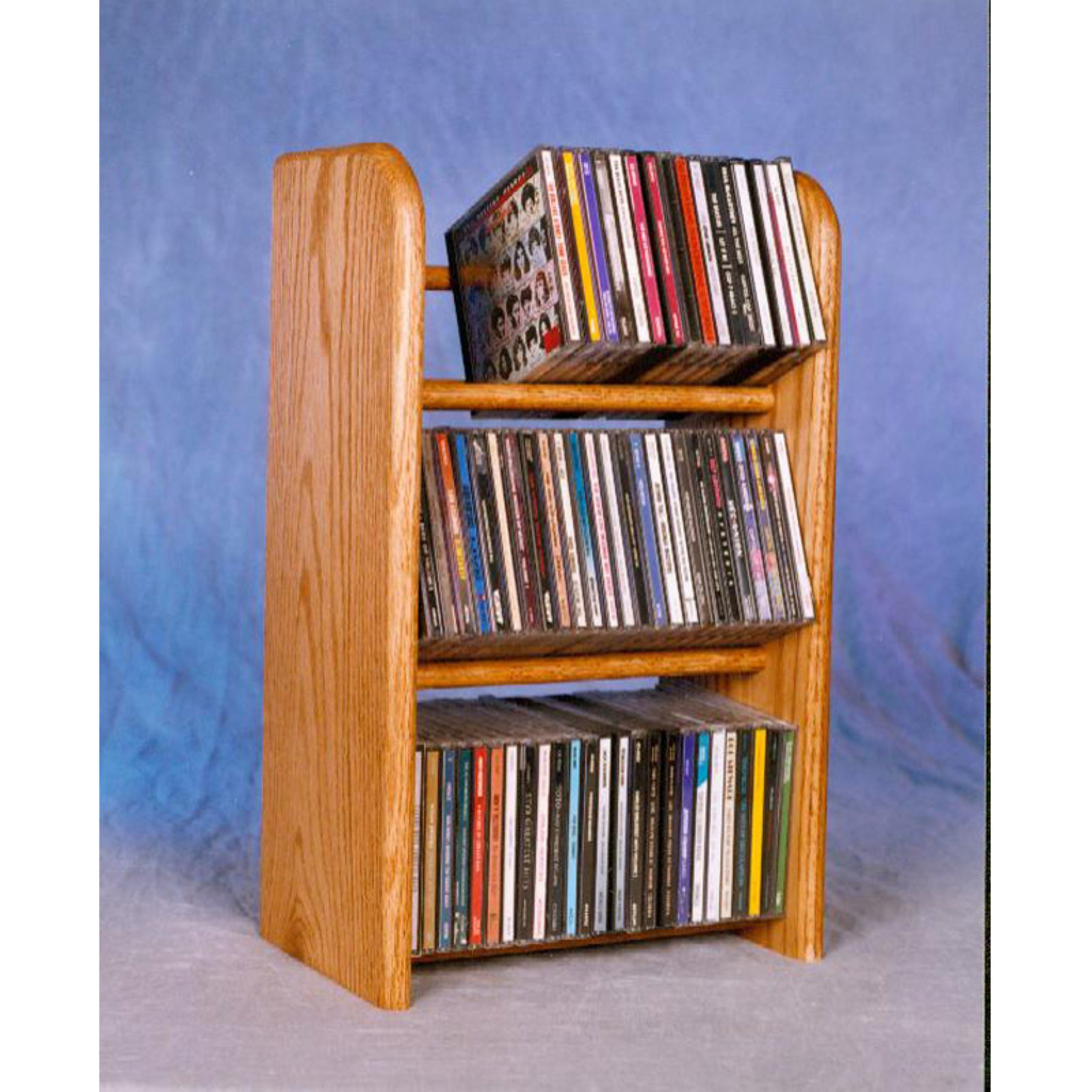The Wood Shed Solid Oak 3 Row Dowel 78 CD Media Rack