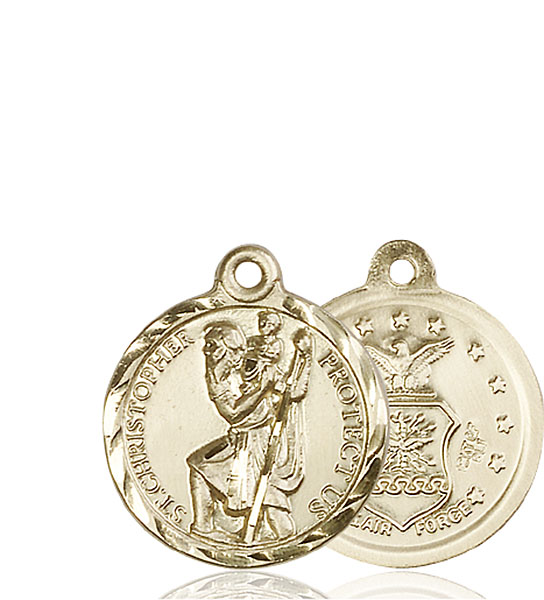 14 KT Gold St. Christopher / Air Force Military Medal