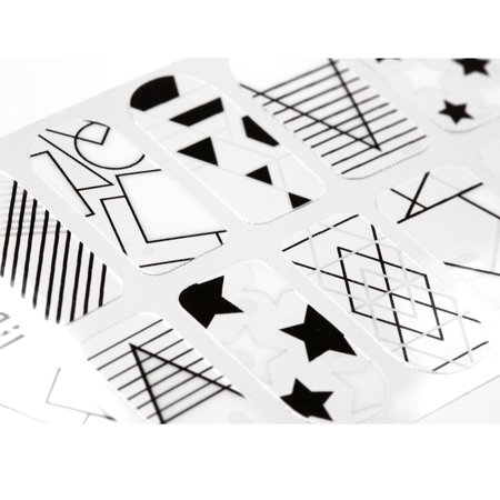 Black And White Nail Designs Halloween (Maniology (formerly bmc) 20pc Shape Shifters Negative Space Nail Wraps - Modern Geometric Stars Dots Abstract Pop Art)