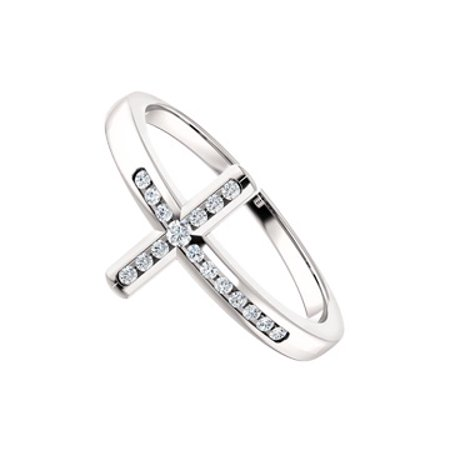 925 Sterling Silver CZ Accented Sideways Cross Ring - image 1 of 2