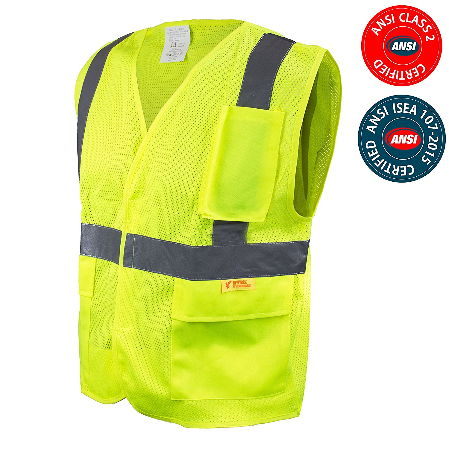 RK Safety High Visibility Safety Vest with Reflective Strips and Pockets - ANSI Class 2 - Neon Yellow / Medium