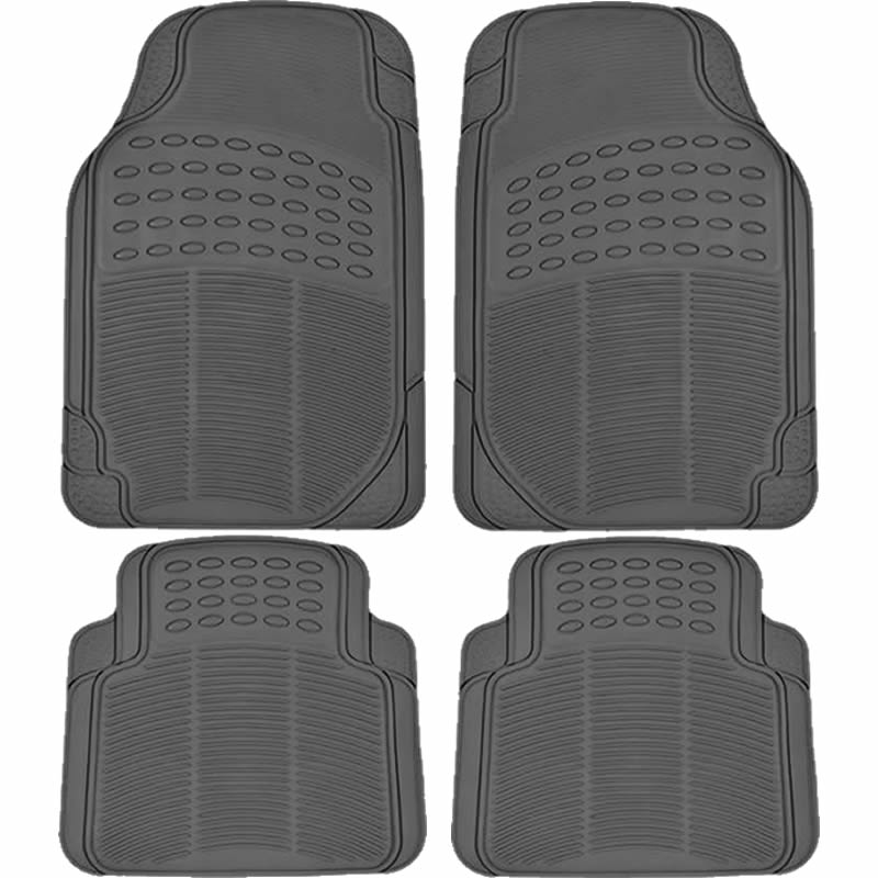 U.A.A. Inc ® 4 Piece Beige All Weather Rubber Front Rear Floor Mats For Car Truck SUV - Universal-Fit