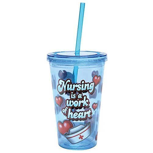 Nursing Double Wall Insulated Acrylic Tumbler Cup Lid Straw 16oz Nurses