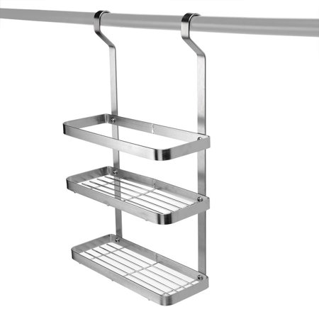 SortWise™ Spice Rack,Wall Mount Kitchen Rack 2- Tier Stainless Steel  Kitchen Utensil Hanging Hooks