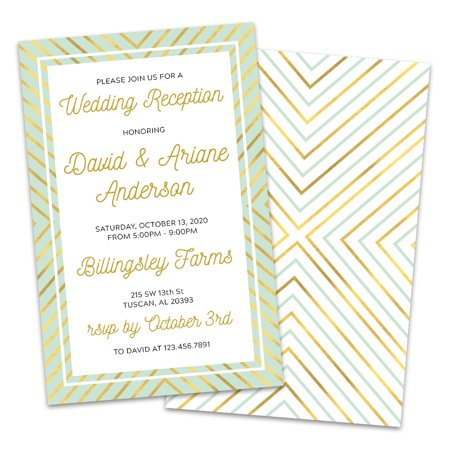 Gold & Mint Personalized Wedding Reception - Gold Wedding Invitations