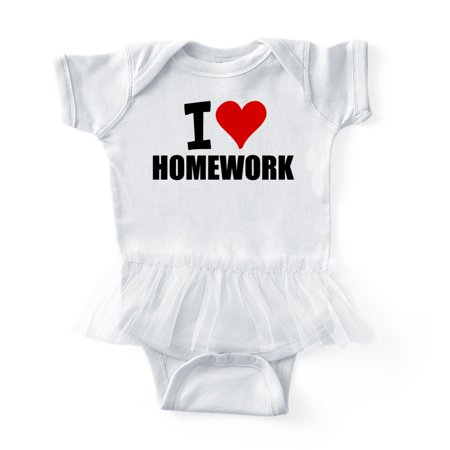 CafePress - I Love Homework - Cute Infant Baby Tutu Bodysuit