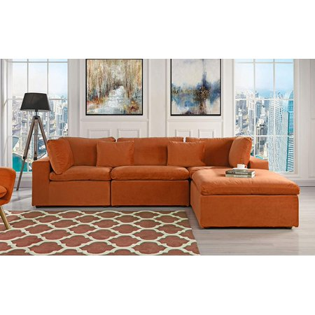 Large Configurable Microfiber Velvet Sofa L-Shape Couch ...
