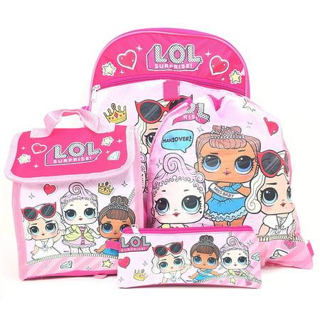 5 Items Essentials Set L.O.L Surprise! Large Work It School LOL Backpack 16