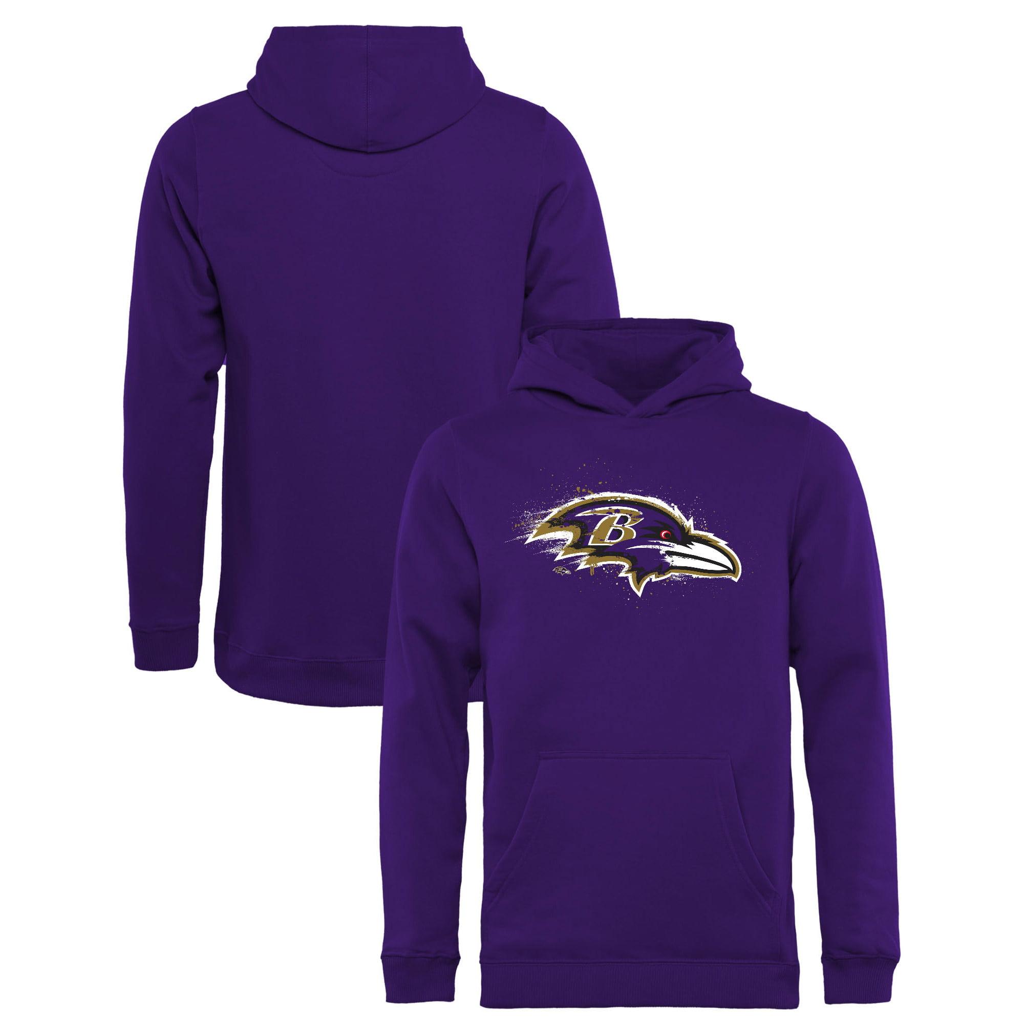 Baltimore Ravens NFL Pro Line by Fanatics Branded Youth Splatter Logo Pullover Hoodie - Purple