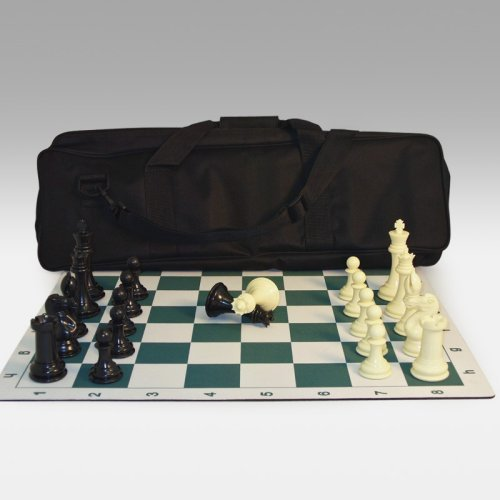 Tournament Chess Set with Roll-Up Chess Board and Canvas Zippered Tote