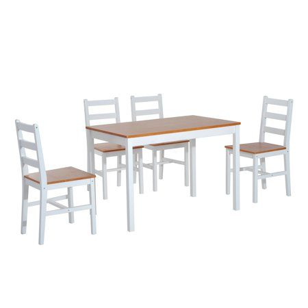 Five Piece Solid Pine Wood Table and High Back Chair Dining Set - White/Natural Wood ()